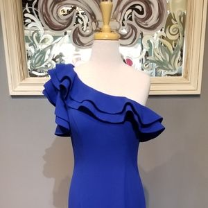Terani Couture Cobalt Ruffled One Shoulder Dress